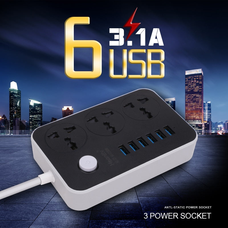 Multi Socket With 6 USB Power Strip