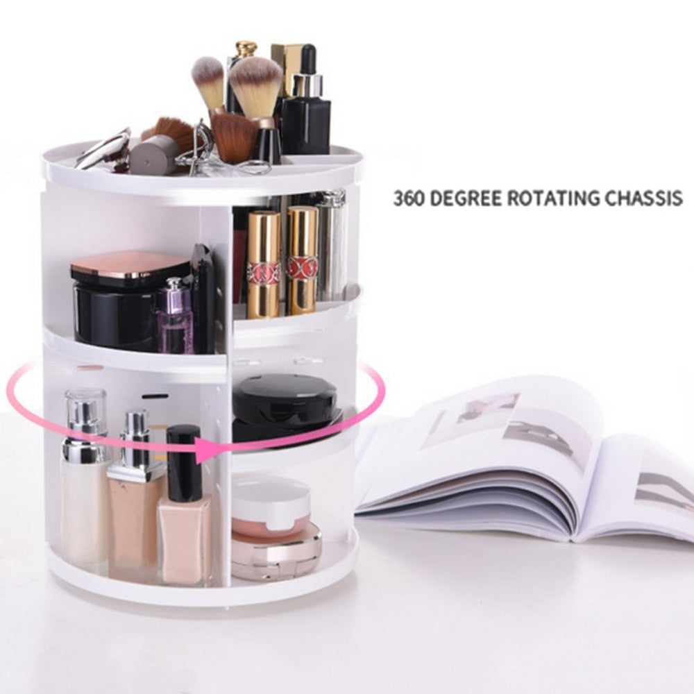 Cosmetic Organizer Makeup Storage Box 360 Degree Rotation