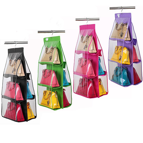 6 Pocket Fold able Hanging Handbag Purse Storage Bag