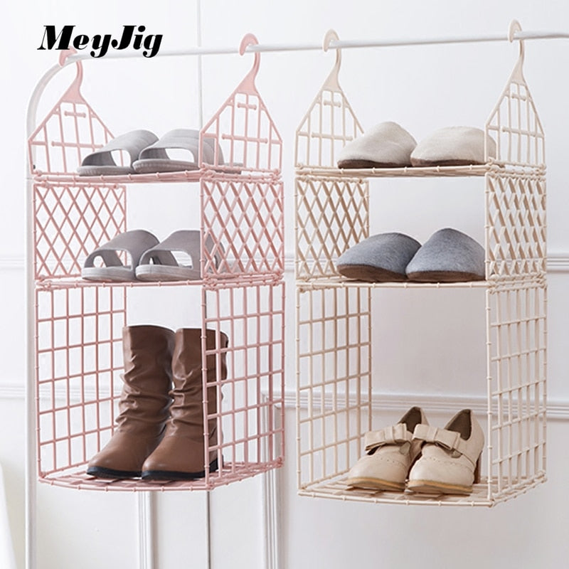 Wardrobe Layered Storage Rack Multi-layer Clothing Organizer Rack Bedroom Dorm Closet Clothes Hanging Basket Finishing Shelf