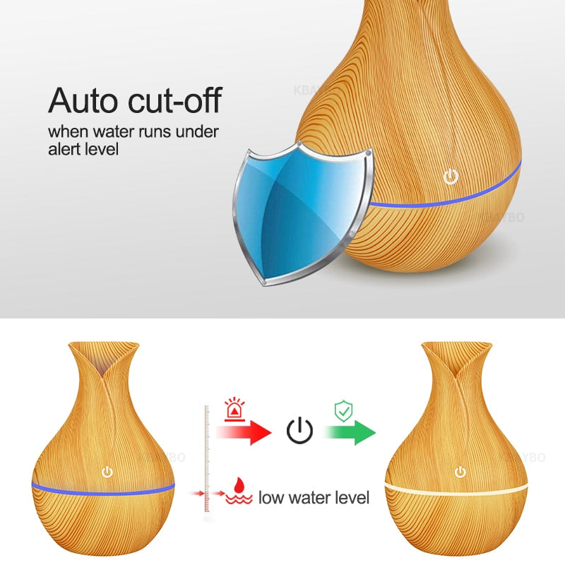 Wood Electric humidifier aroma oil diffuser