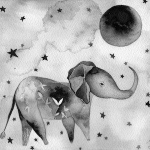 Elephant and Moon by Meera Lee Patel for $400