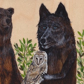 Bear, Wolf And Barn Owl come together by Drew Mosley for $300