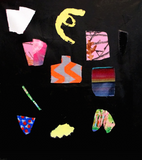 Painting by Polly Shindler - cutout shapes on a black background