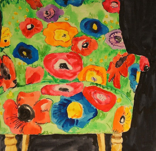 Green Poppy Love Chair