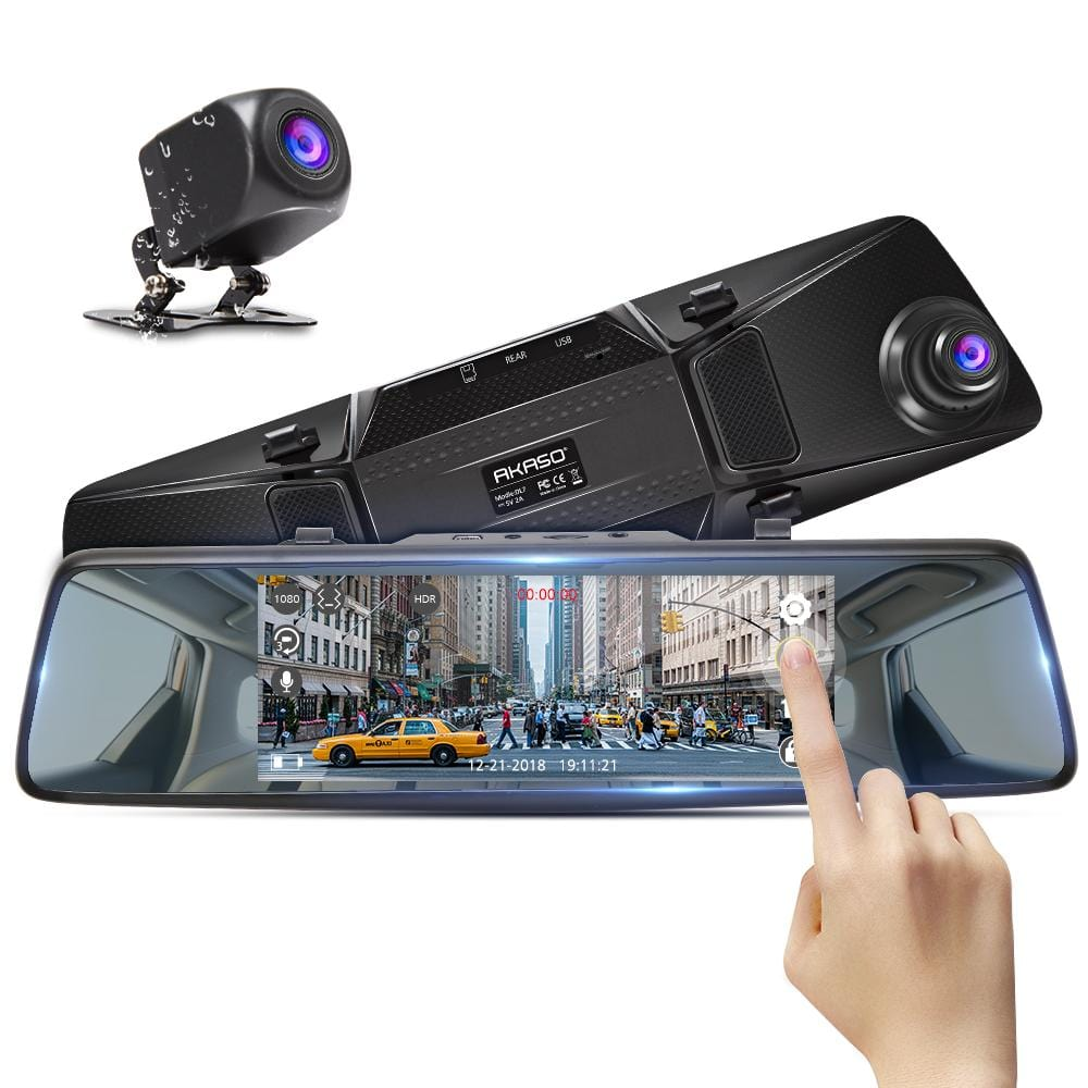 "Mirror Dash Cam with Backup Camera - AKASO DL7 1080P Dual Dash Camera 7"" Touch Screen with Reversing Image G-Sensor Loop Record Park Monitor 