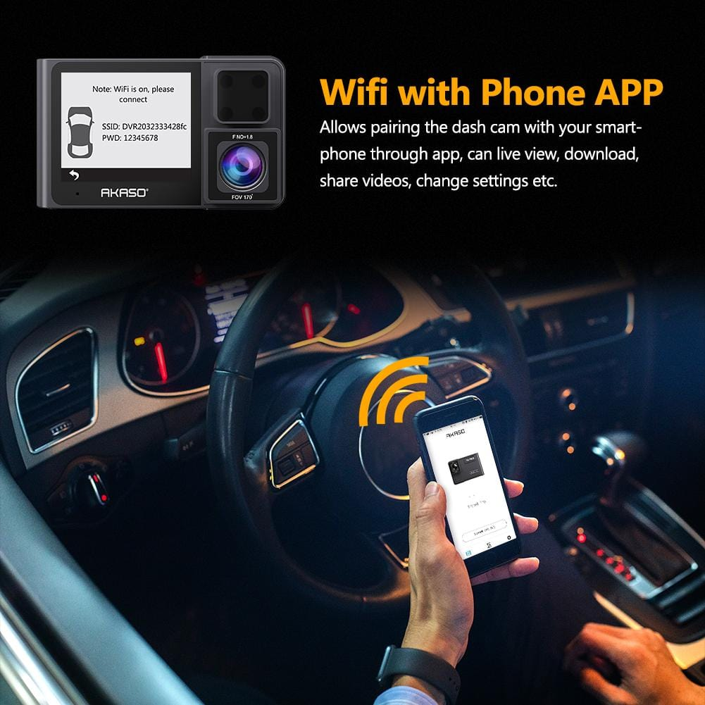 AKASO Trace 1 Pro 2K WiFi Sony STARVIS 340° Coverage Included 32GB Card Fatigue Reminder | AKASO