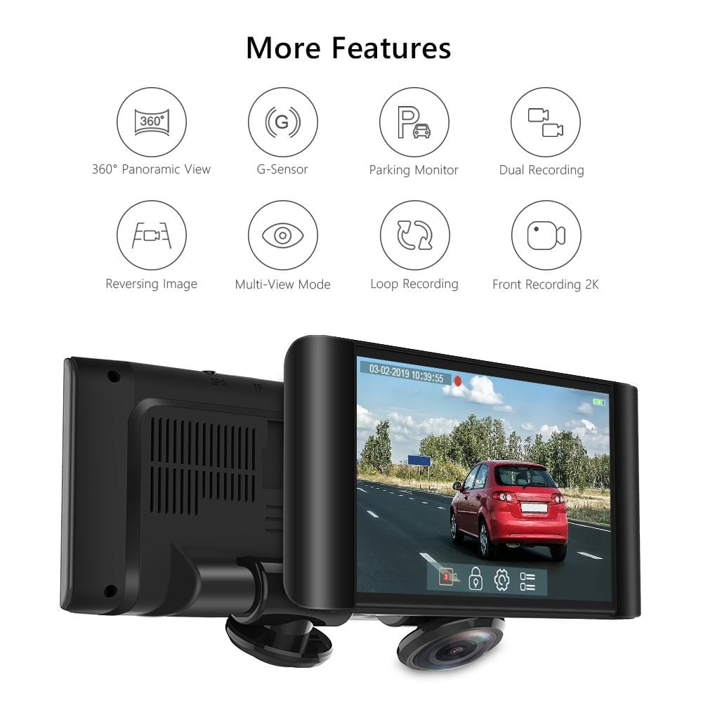 AKASO P4 360 Degree Dash Camera for Cars 2K Full View Dual Dash Video Recorder | AKASO