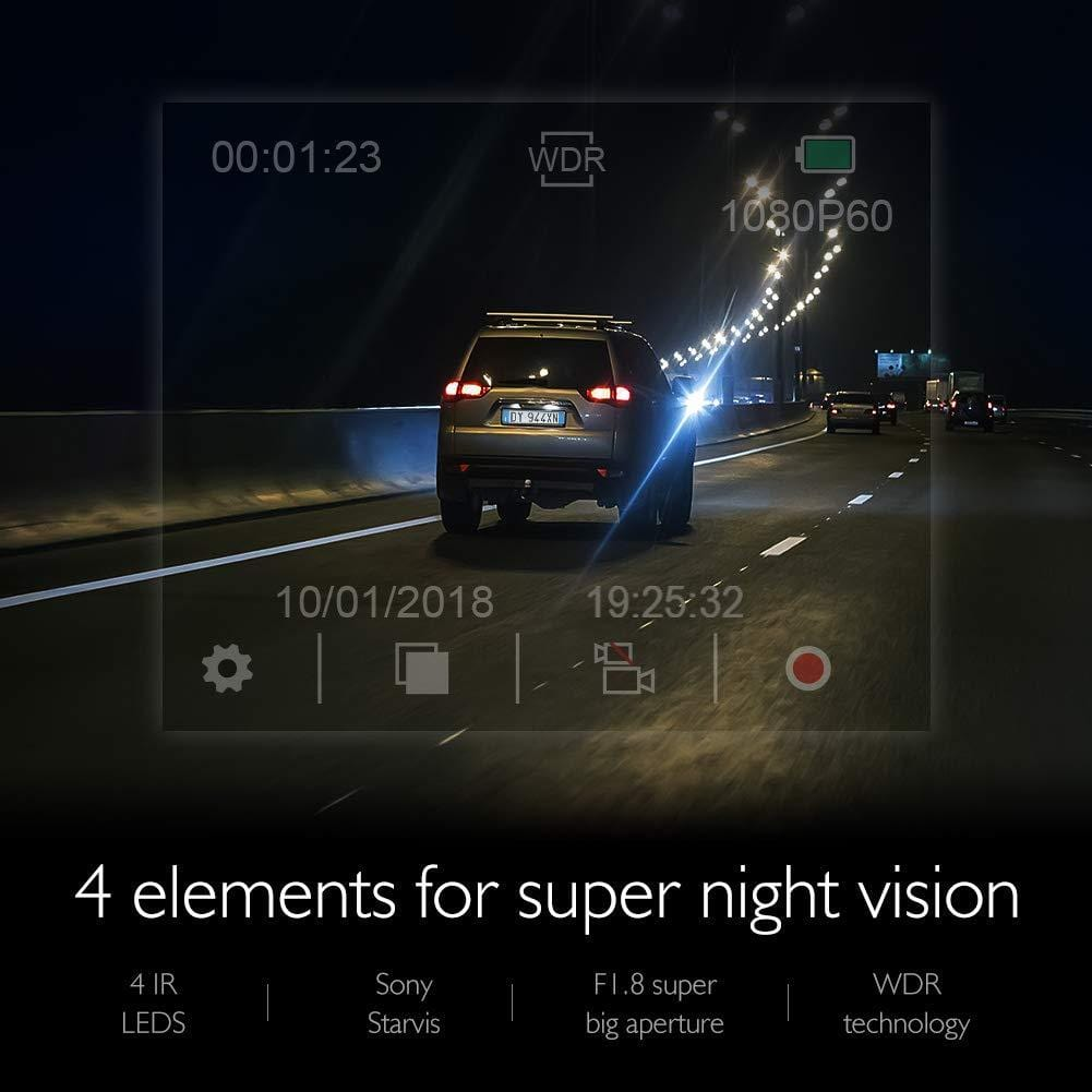 AKASO Trace 1 Car Dash Camera 340° Coverage Infrared Night Vision with Sony STARVIS Loop Recording G-Sensor Support 128GB Card | AKASO