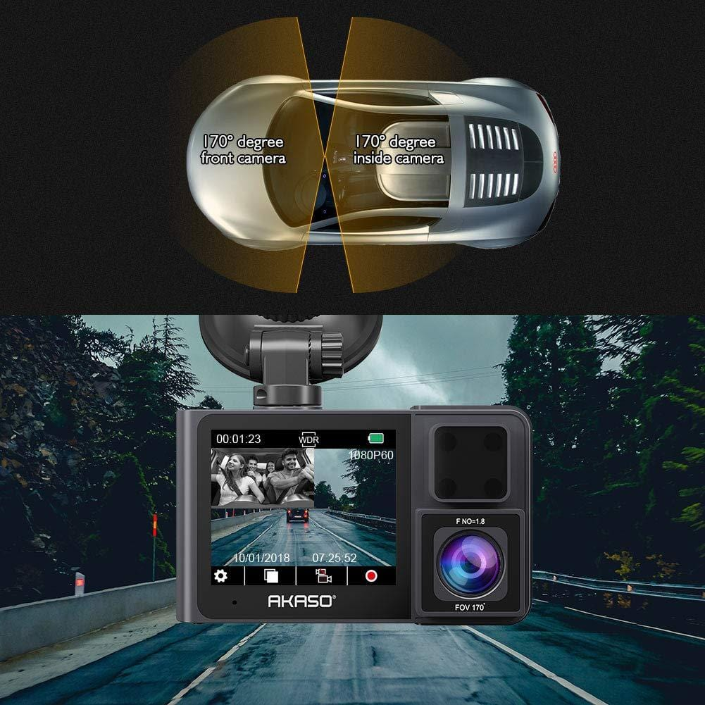 AKASO Trace 1 Car Dash Camera 340° Coverage Infrared Night Vision with Sony STARVIS Loop Recording G-Sensor Support 128GB Card-AKASO