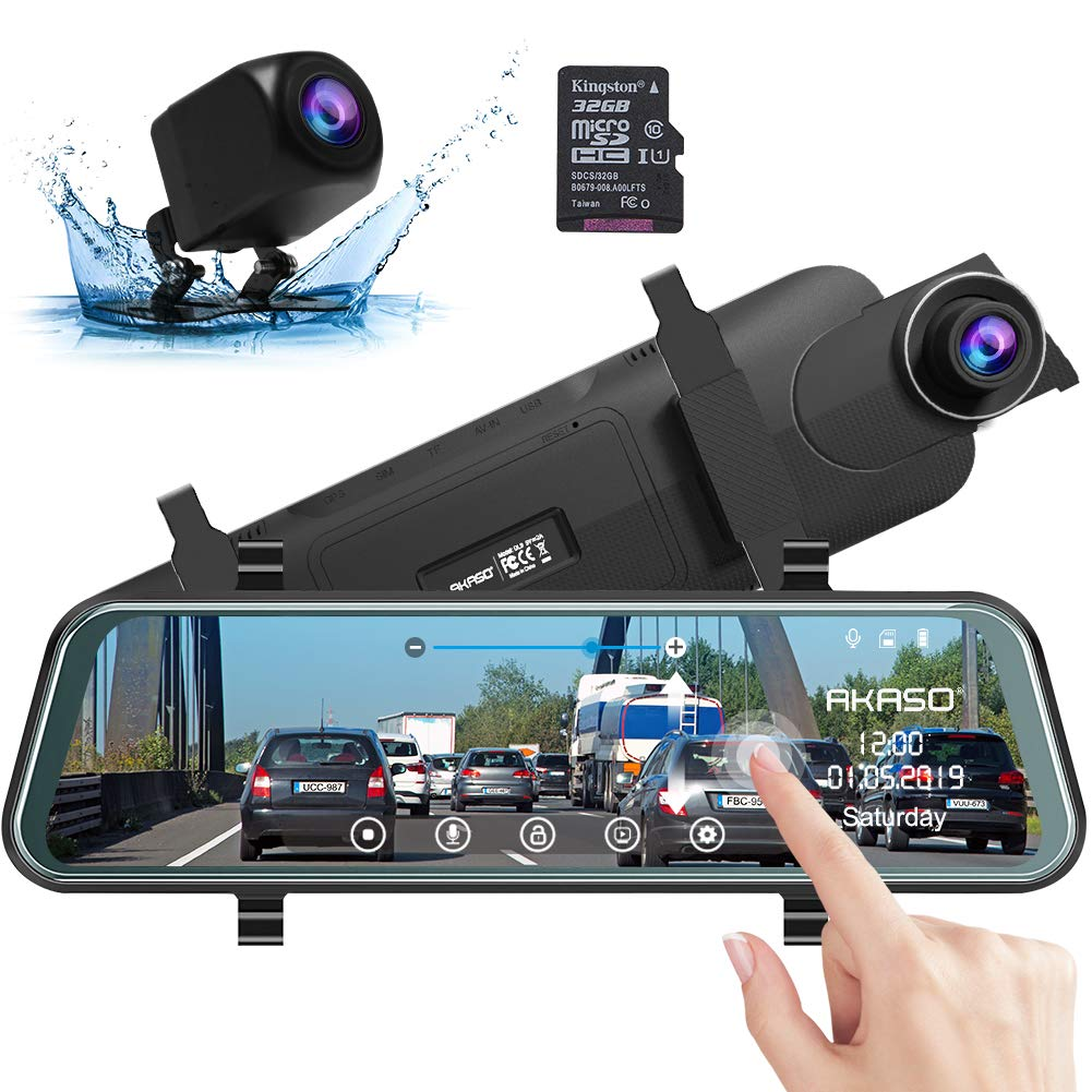 AKASO DL9 1080P Backup Cam 10'' Stream Media Touch Screen DVR with 32GB Card | AKASO