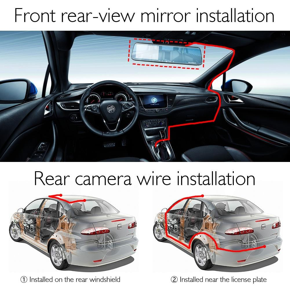 AKASO DL2 Mirror Dash Cam 1080p 5 inch Touch Screen Dash Camera Front and Rear Dashcam with G-Sensor | AKASO