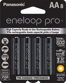 Panasonic Eneloop Pro AA Rechargeable NiMH Batteries ( 8 Pack )