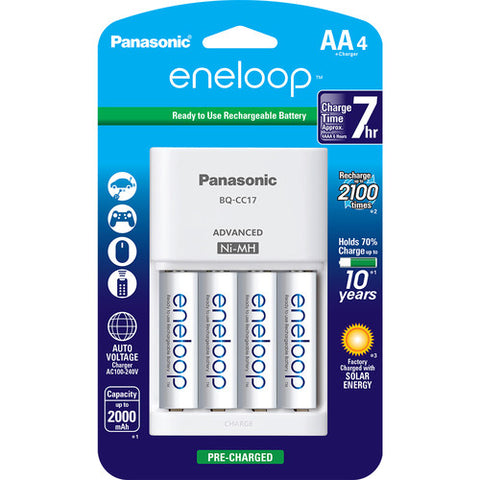 Panasonic Eneloop Rechargeable AA Ni-MH Batteries with Charger ( Pack of 4)