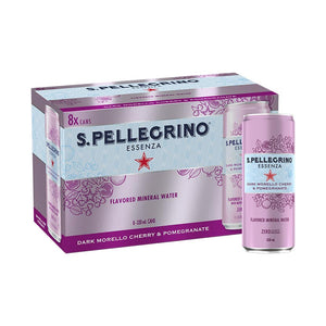 San Pellegrino Dark Morello Cherry & Pomegranate Mineral Water 330ml can (8 Pack)