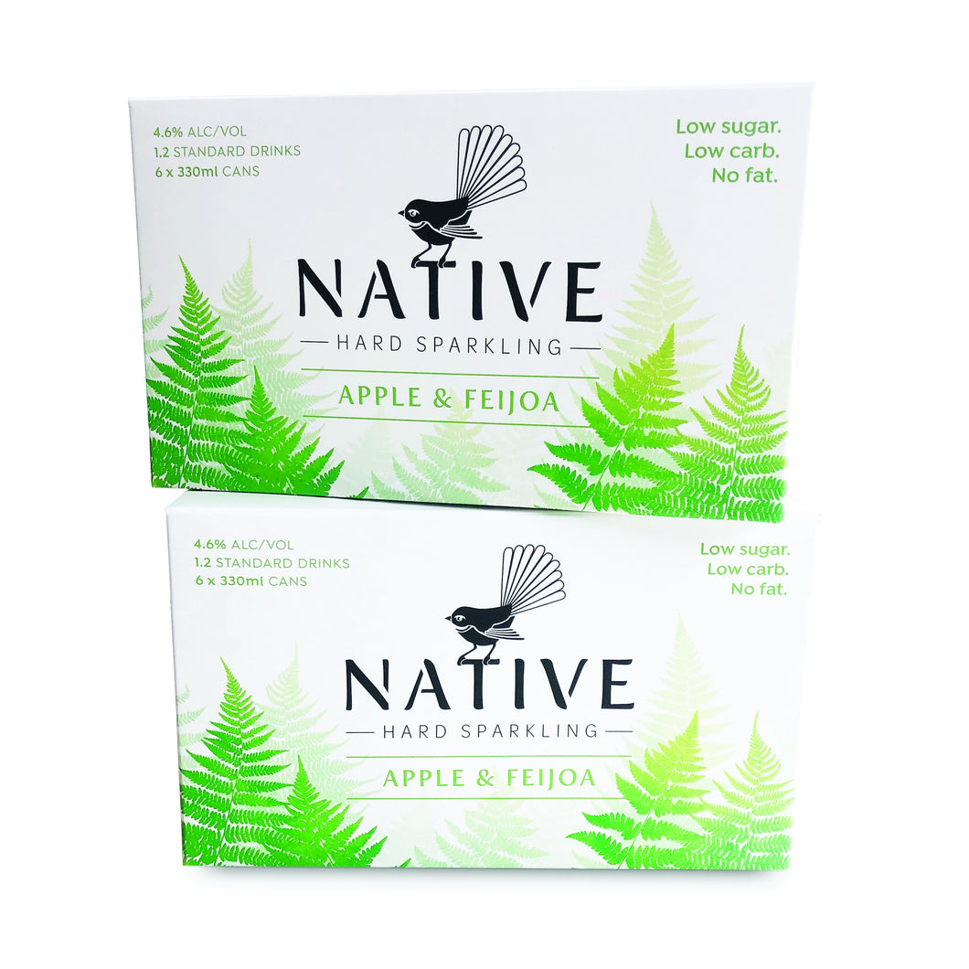 Native Hard Sparkling Apple & Feijoa 330ml Cans 6-pack