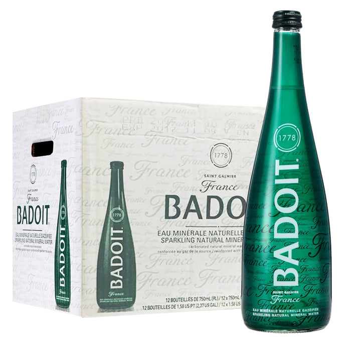 Badoit Sparkling Mineral Water 750ml Glass Bottles (12-Pack)
