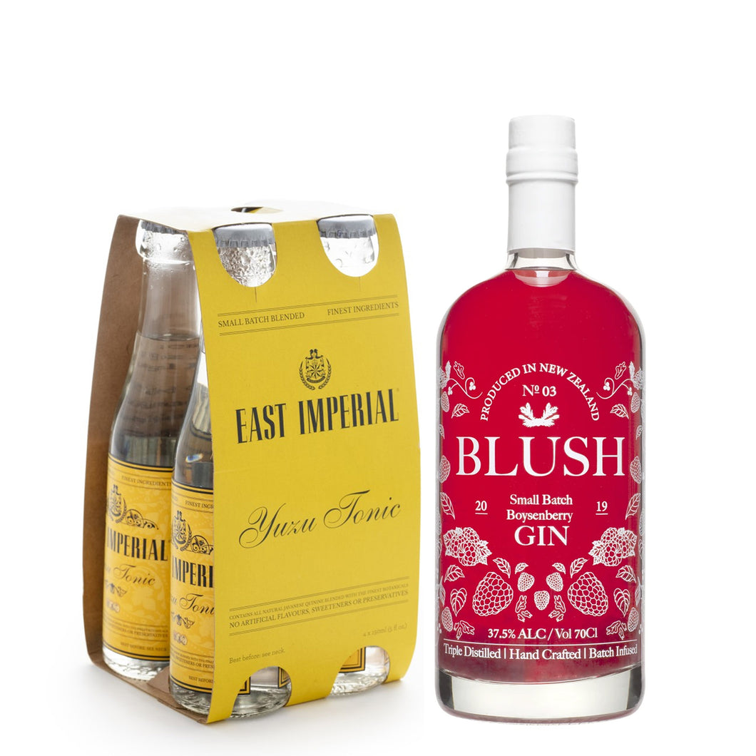 Blush Boysenberry Gin 700ml + East Imperial Yuzu Tonic Water 150ml (4-Pack) Bundle