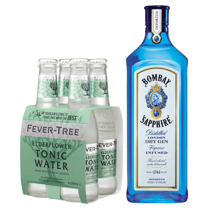 Bombay Sapphire London Dry Gin 700ml + Fever Tree Elderflower Tonic Water 200ml (4-Pack) Bundle