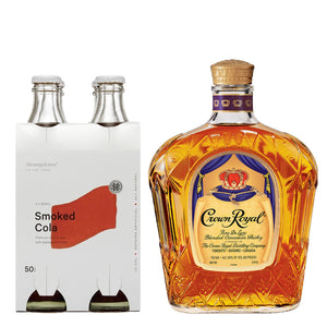 Crown Royal Canadian Whiskey 1000ml + Strangelove Smoked Cola Lo-Cal Soda 300ml (4-Pack) Bundle