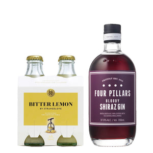Four Pillars Bloody Shiraz Gin 700ml + Strangelove Bitter Lemon Tonic 180ml (4-Pack) Bundle