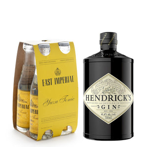 Hendrick's London Dry Gin 700ml + East Imperial Yuzu Tonic Water 150ml (4-Pack) Bundle