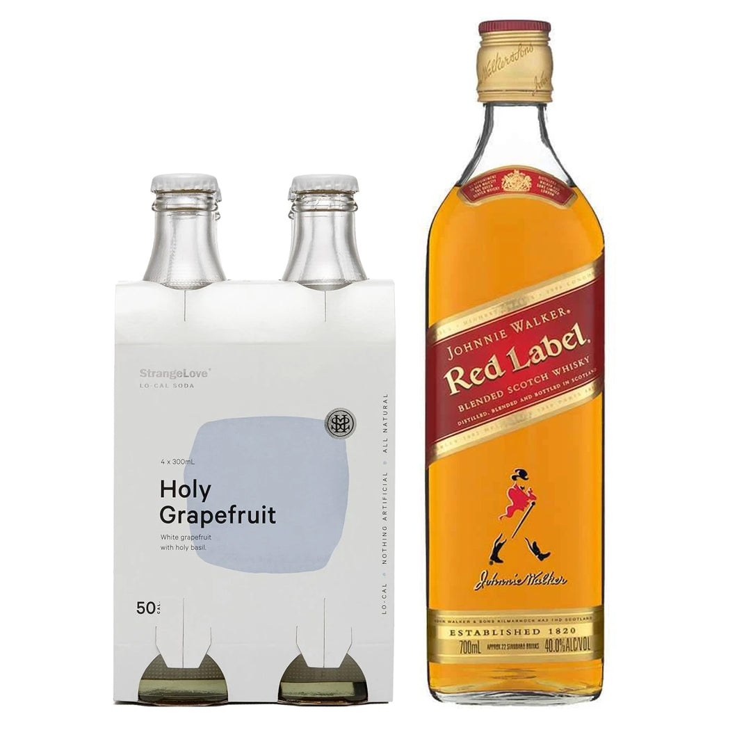 Johnnie Walker Red Label 700ml + Strangelove Holy Grapefruit Lo-Cal Soda 300ml (4-Pack) Bundle