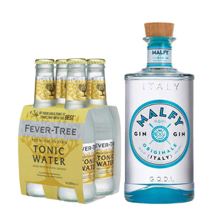 Malfy Gin Originale 700ml + Fever Tree Premium Indian Tonic Water 200ml (4-Pack) Bundle