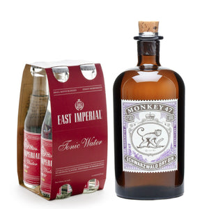 Monkey 47 Schwartzwald Dry Gin 500ml + East Imperial Burma Tonic Water 150ml (4-Pack) Bundle