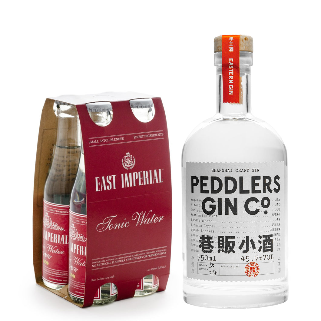 Peddlers Gin Co. Shanghai Craft Gin 750ml + East Imperial Burma Tonic Water 150ml (4-Pack) Bundle