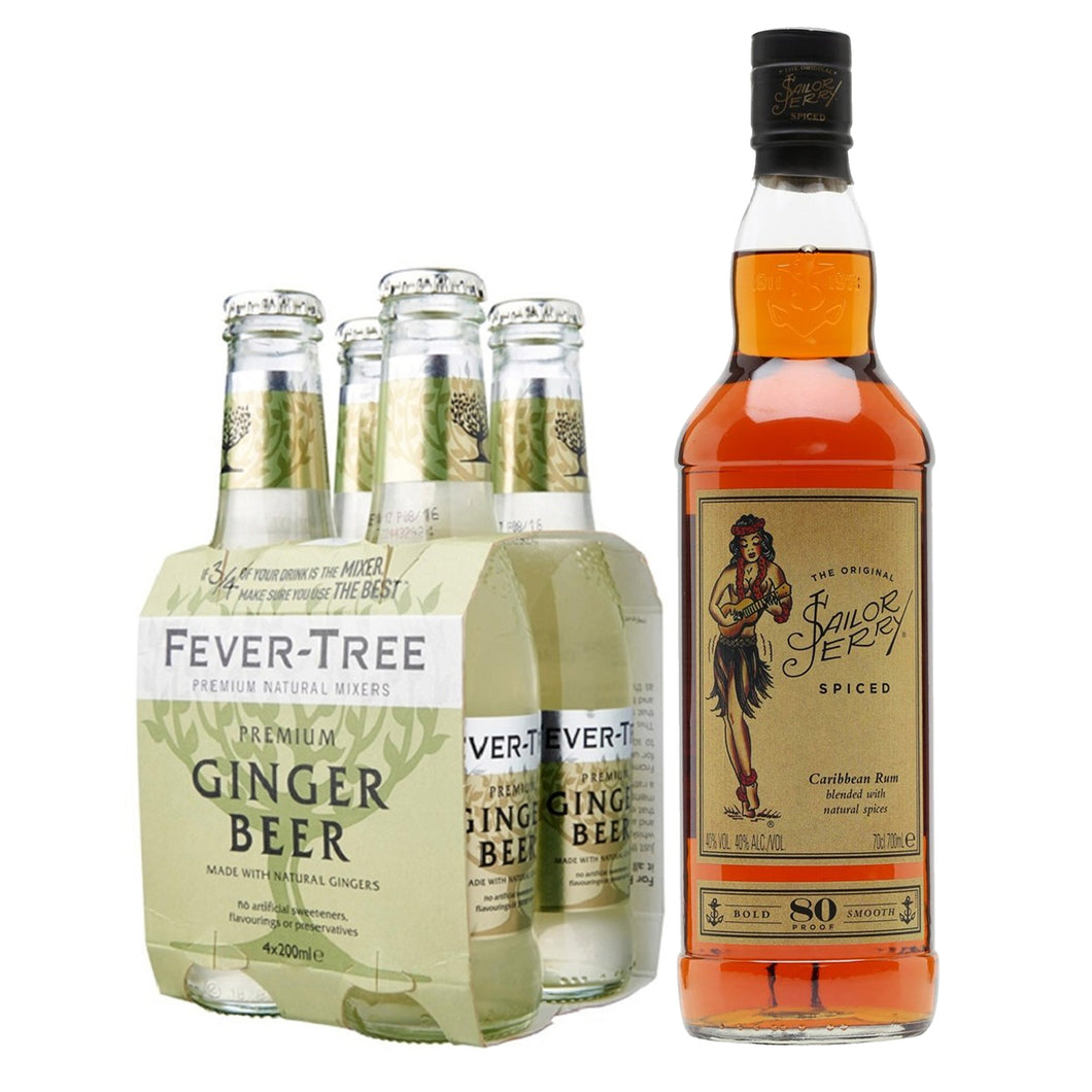 Sailor Jerry Spiced Rum 700ml + Fever Tree Ginger Beer 200ml (4-Pack) Bundle