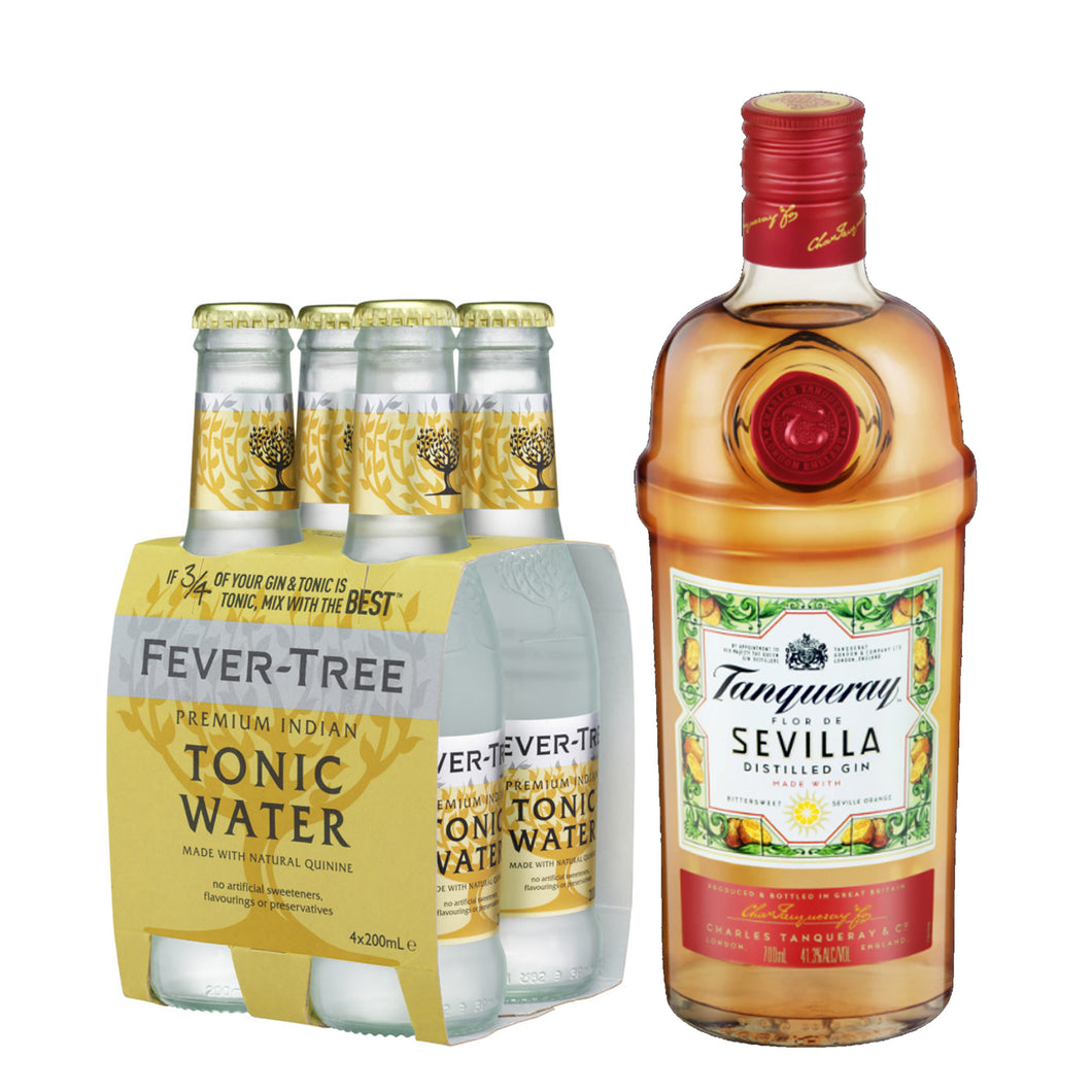 Tanqueray Flor de Sevilla Gin 700ml + Fever Tree Premium Indian Tonic Water 200ml (4-Pack) Bundle