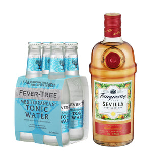 Tanqueray Flor de Sevilla Gin 700ml + Fever Tree Mediterranean Tonic Water 200ml (4-Pack) Bundle