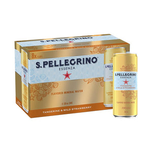 San Pellegrino Tangerine & Strawberry Mineral Water 330ml can (8 Pack)