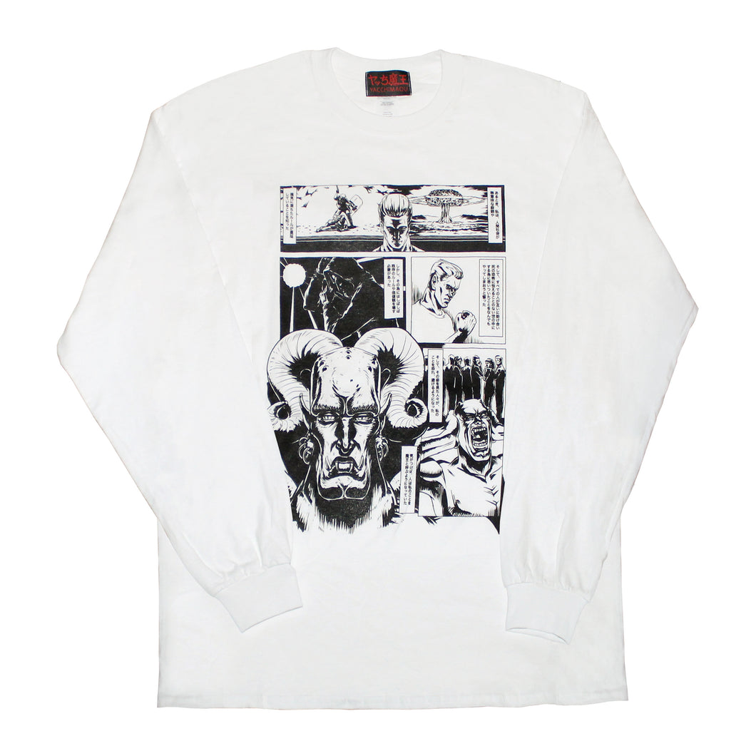 LEGEND OF SATAN COMIC  LONG SLEEVE T-SHIRT  WHITE