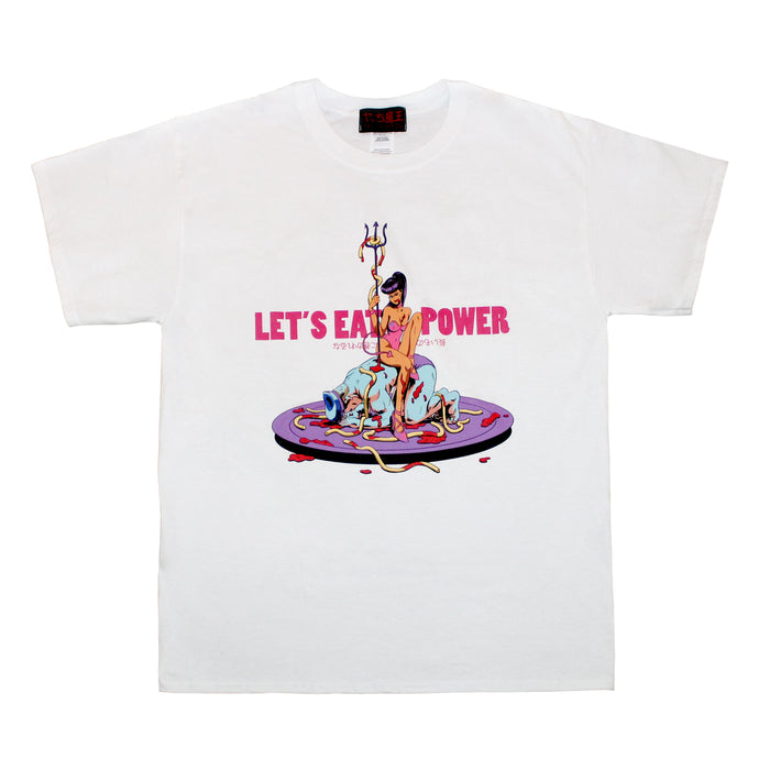LET'S EAT POWER   T-SHIRT  WHITE