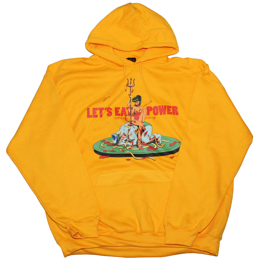 LET'S EAT POWER  HOODIE  YELLOW