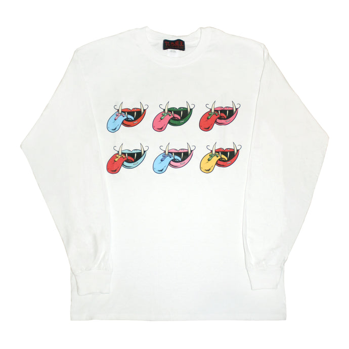 6 MOUTH LOGO  LONG SLEEVE T-SHIRT  WHITE