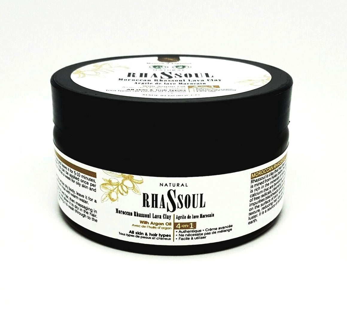 7 Oz Organic Moroccan Ghassoul Clay Mask for Skin, Face and Hair Care. - Argan Beauty