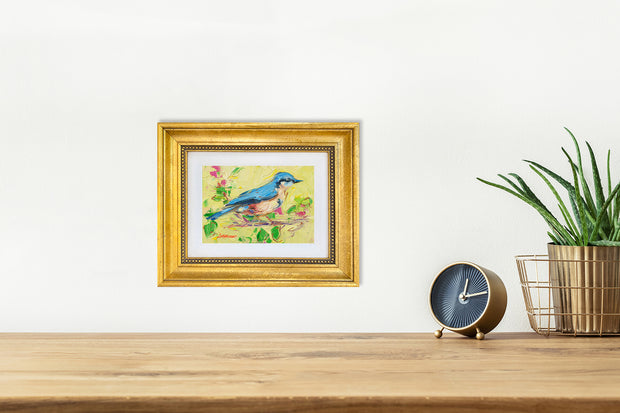Bluebird and Cherry Blossoms - mini canvas giclee