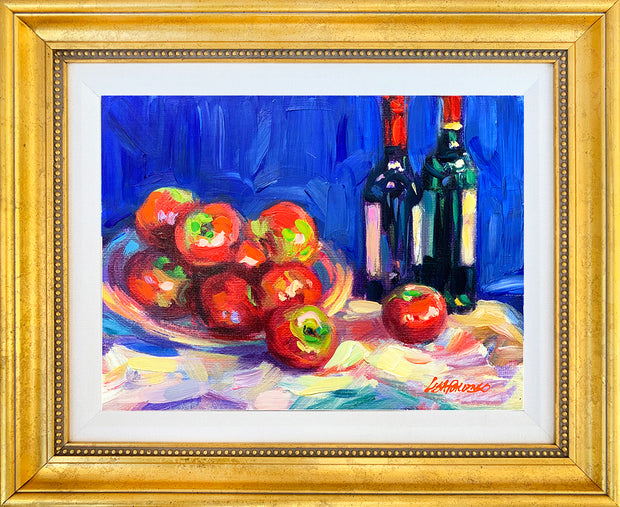 Apples and Wine, I - mixed media original