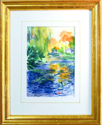 Monet's Bridge #1 - Framed Original Watercolor