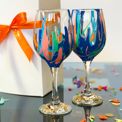 Blue and Coral Wine Glass