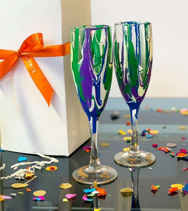 Blue Green and Purple Champagne Glass