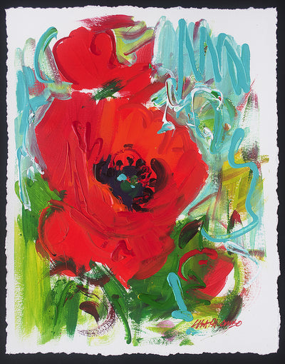 Color Concerto #1 - original red poppy painting
