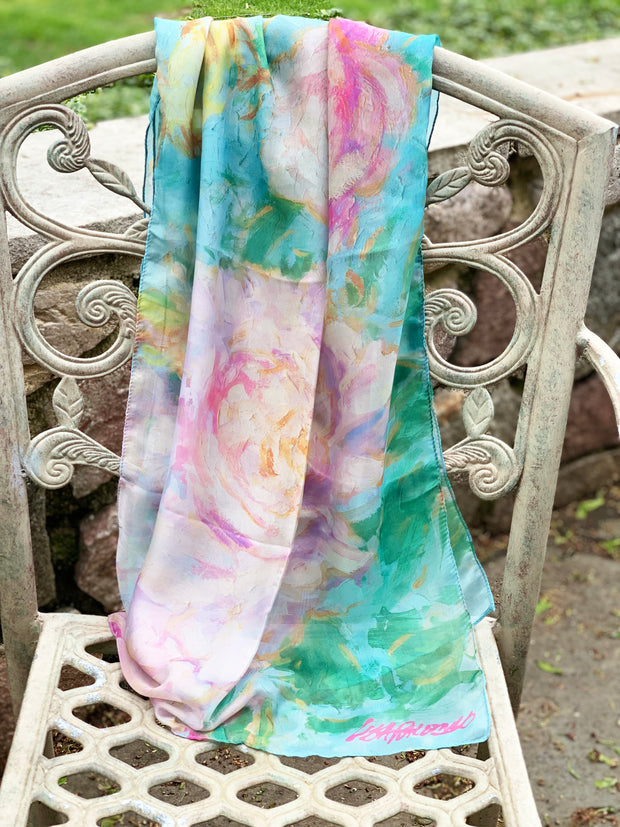 Peony and Songbirds - silk blend scarf