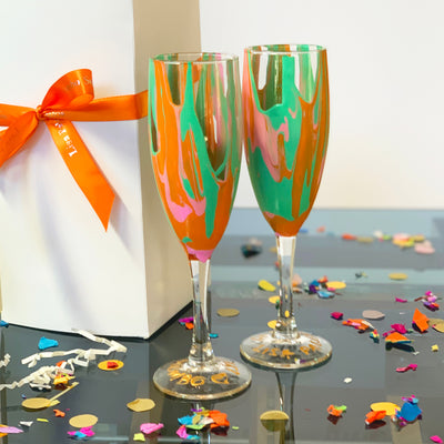 Orange Pink and Green Champagne Glass