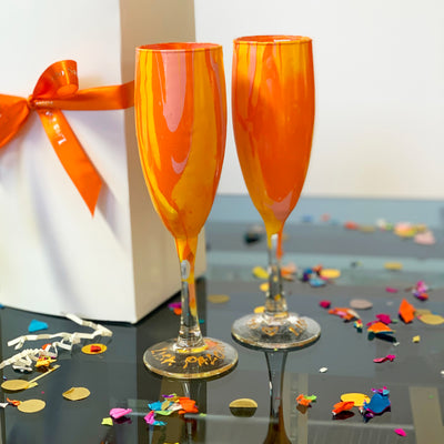 Orange Pink and Yellow Champagne Glass