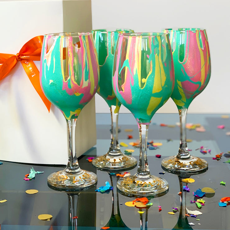 Pastel Glitter Wine Glass
