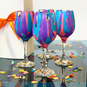 Purple Turquoise and Coral Wine Glass